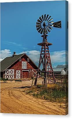Barn With Windmill Canvas Print by Paul Freidlund