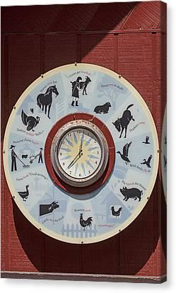 Barn Yard Clock Canvas Print by Garry Gay