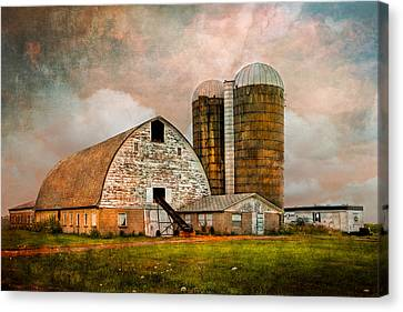 Barns In The Country Canvas Print by Debra and Dave Vanderlaan