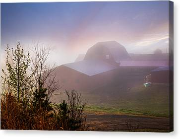 Barns In The Morning Light Canvas Print by Debra and Dave Vanderlaan