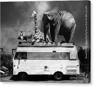 Barnum And Baileys Fabulous Road Trip Vacation Across The Usa Circa 2013 22705 Black White With Text Canvas Print by Wingsdomain Art and Photography