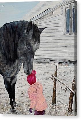 Barnyard Kiss Canvas Print by Marilyn  McNish