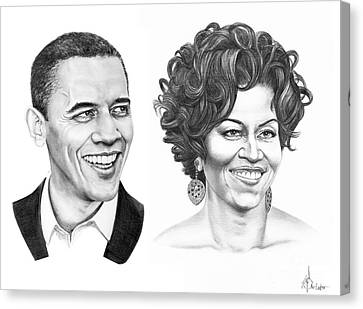 Barrack And Michelle Obama Canvas Print by Murphy Elliott