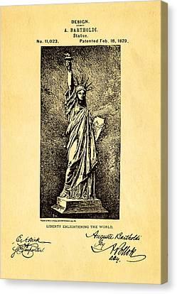 Bartholdi Statue Of Liberty Patent Art 1879 Canvas Print by Ian Monk