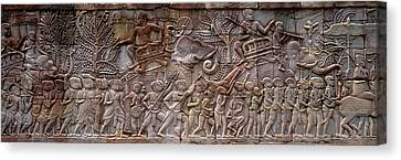 Bas Relief Angkor Wat Cambodia Canvas Print by Panoramic Images