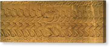 Bas Relief In A Temple, Angkor Wat Canvas Print by Panoramic Images