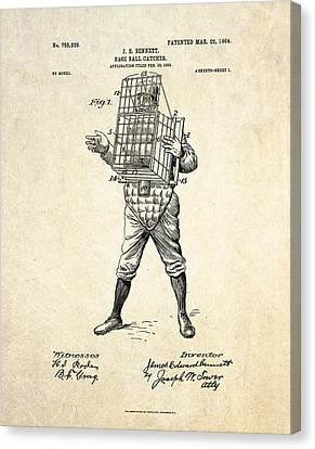 1904 Base Ball Catcher Patent Art Canvas Print by Gary Bodnar