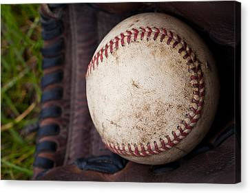 Baseball And Glove Canvas Print by David Patterson