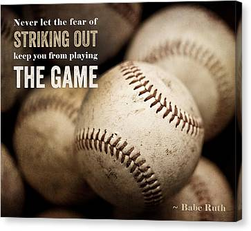 Baseball Art Featuring Babe Ruth Quotation Canvas Print by Lisa Russo
