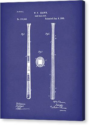 Baseball Bat 1885 Patent Art Blue Canvas Print by Prior Art Design