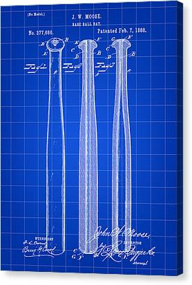 Baseball Bat Patent 1888 - Blue Canvas Print by Stephen Younts