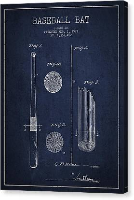 Baseball Bat Patent Drawing From 1921 Canvas Print by Aged Pixel