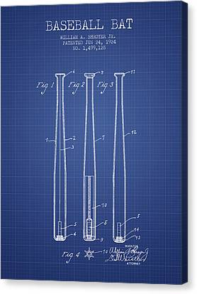 Baseball Bat Patent From 1924 - Blueprint Canvas Print by Aged Pixel