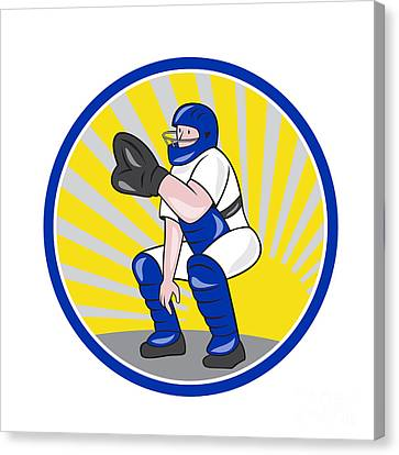 Baseball Catcher Catching Side Circle Canvas Print by Aloysius Patrimonio