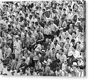 Baseball Fans In The Bleachers At Yankee Stadium. Canvas Print by Underwood Archives