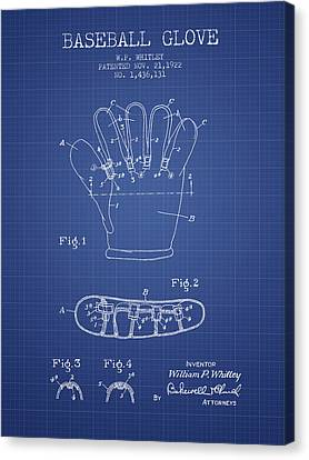 Baseball Glove Patent From 1922 - Blueprint Canvas Print by Aged Pixel