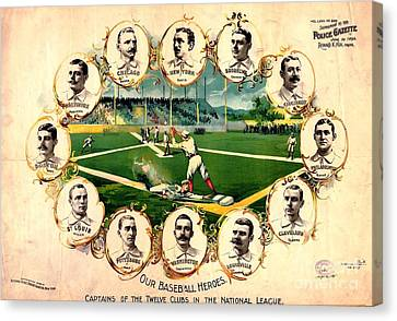 Baseball Heroes - 1895 Canvas Print by Pg Reproductions
