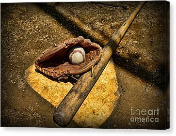 Baseball Home Plate Canvas Print by Paul Ward