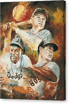 Baseball Legends Babe Ruth Jackie Robinson And Ted Williams Canvas Print by Christiaan Bekker
