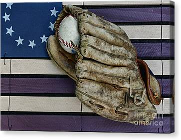 Baseball Mitt On American Flag Folk Art Canvas Print by Paul Ward