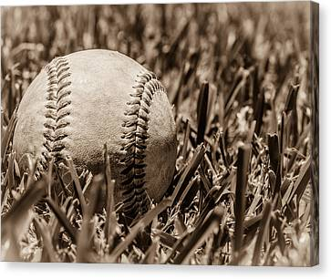 Baseball Nostalgia Series Number Four Canvas Print by Justin Woodhouse