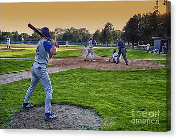 Baseball On Deck Circle Canvas Print by Thomas Woolworth