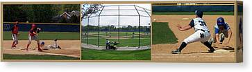 Baseball Playing Hard 3 Panel Composite 01 Canvas Print by Thomas Woolworth