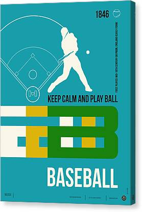 Baseball Poster Canvas Print by Naxart Studio