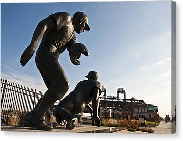 Baseball Statue At Citizens Bank Park Canvas Print by Bill Cannon