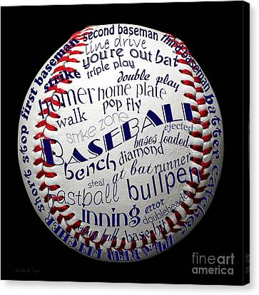 Baseball Terms Typography 1 Canvas Print by Andee Design