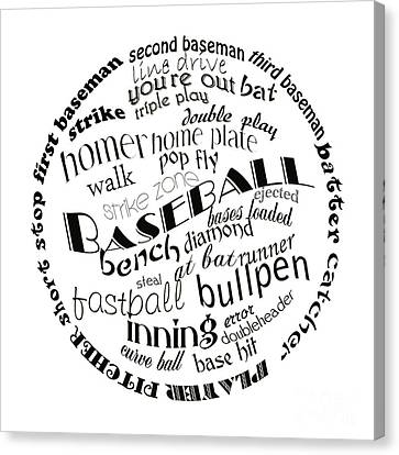 Baseball Terms Typography Black And White Canvas Print by Andee Design
