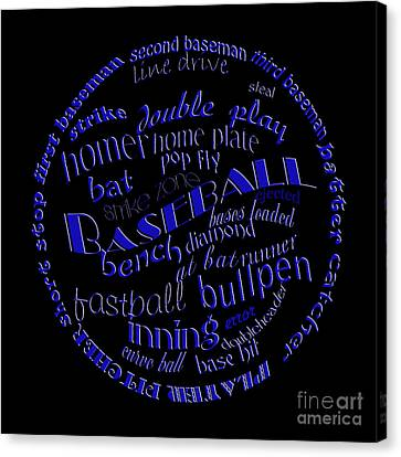 Baseball Terms Typography Blue On Black Canvas Print by Andee Design