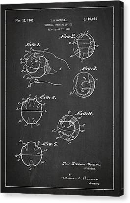 Baseball Training Device Patent Drawing From 1961 Canvas Print by Aged Pixel