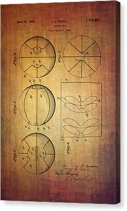 Basket Ball Patent From 1929 Canvas Print by Eti Reid