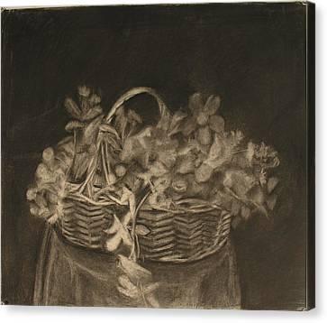Basket Of Flowers Canvas Print by Sheila Mashaw