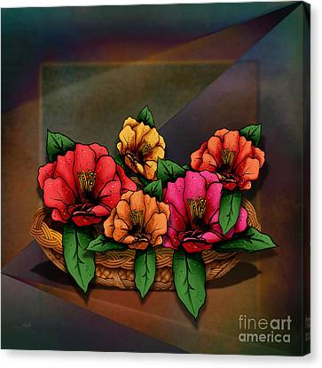 Basket Of Hibiscus Flowers Canvas Print by Bedros Awak