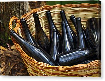 Basket With Bottles Canvas Print by Carlos Caetano
