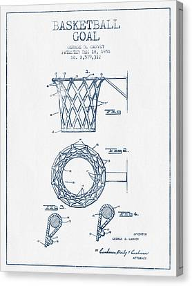 Basketball Goal Patent From 1951 - Blue Ink Canvas Print by Aged Pixel