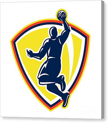 Basketballer Dunking Rebounding Ball Retro Canvas Print by Aloysius Patrimonio