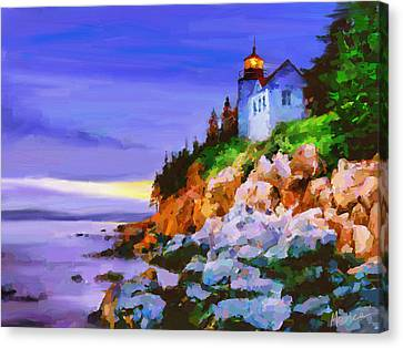Bass Harbor Head Light At Sunset Canvas Print by Marina Likholat