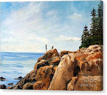 Bass Harbor Rocks Canvas Print by Lee Piper
