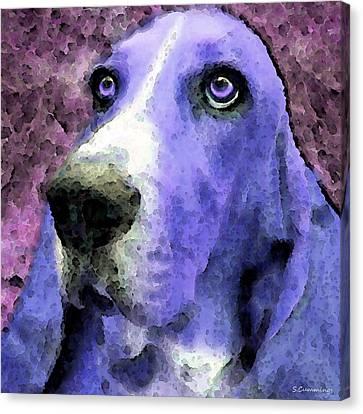 Basset Hound - Pop Art Purple Canvas Print by Sharon Cummings
