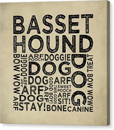 Basset Hound Typography Canvas Print by Flo Karp