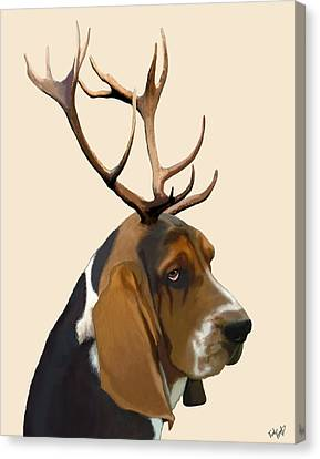 Basset Hound With Antlers Canvas Print by Kelly McLaughlan