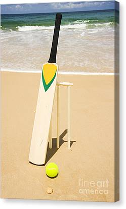 Bat Ball And Stumps Canvas Print by Jorgo Photography - Wall Art Gallery