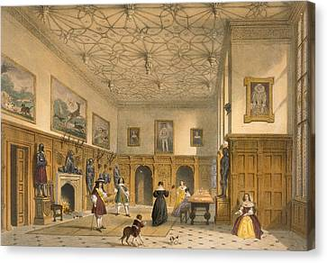 Bat Game In The Grand Hall, Parham Canvas Print by Joseph Nash