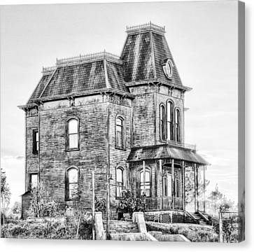 Bates Motel Haunted House Black And White Canvas Print by Paul W Sharpe Aka Wizard of Wonders