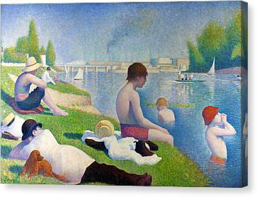 Bathers In Asnieres Canvas Print by Georges Seurat