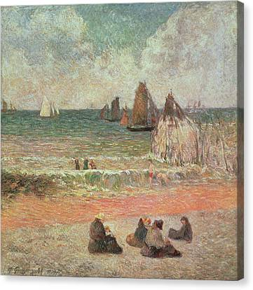 Bathing Dieppe Canvas Print by Paul Gauguin
