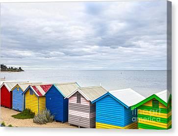 Bathing Huts Brighton Beach Melbourne Australia Canvas Print by Colin and Linda McKie